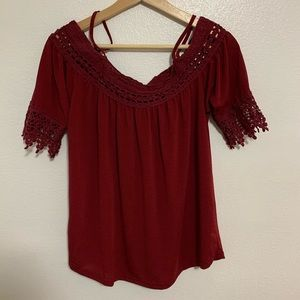 Maroon Off-The-Shoulder Blouse With Lace Detail